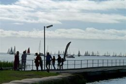 Boats on the startline looking from the Milang foreshore